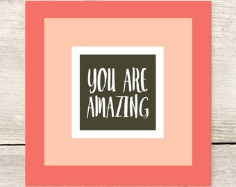 You Are Amazing color block flat note card