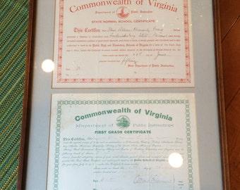 Ephemera, 1911-1915, Pair of Antique Teaching Certificates, Professionally Framed, Race Related, Fredericksburg VA, Vintage Home Decor