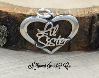 Lil Sister Heart Charm, Little Sister Heart Pendant, Little Sister Heart Script Charm, Sterling Silver Charm, PS3135