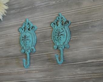 Victorian Hook. Set of Two Distressed Teal Blue Hooks. Ornate Hook. Bathroom Hook. Coat Hook. Towel Hook. Bathroom Decor. Kitchen Decor