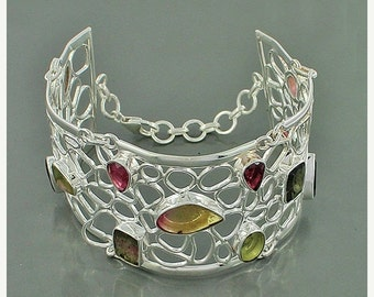Sell On AAA Watermelon Tourmaline Gemstone Cuff Bracelet, 925 Sterling Silver Jewelry, Party Wear Unique Gift Cuff Bracelet Adjustable Size