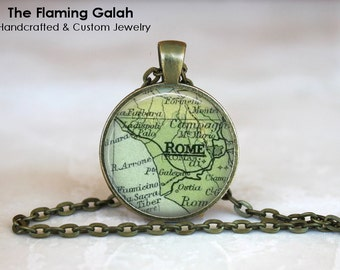 ROME Map Pendant • Vintage Rome Map • Italy Map • Italian Capital City Map • Old Map of Rome • Gift Under 20 • Made in Australia (P0464)