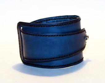 Blue Leather Cuff! Blue Bracelet! Great Gift!Blue Cuff! Very Nice Bracelet!