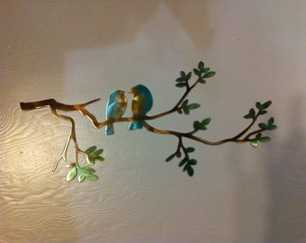 Love Birds on Limb Metal Dyed Wall Art