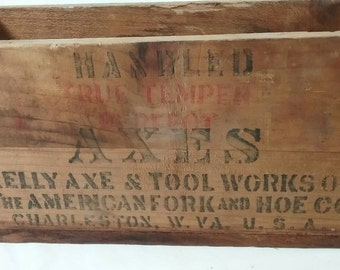 Kelly ax and took works true temper advertising shipping crate vintage wood box