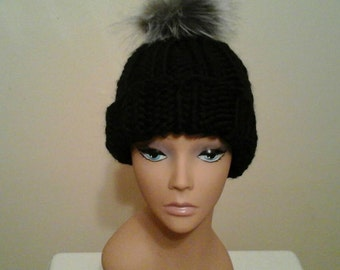 Knit Chunky slouchy  hat with pom-pom