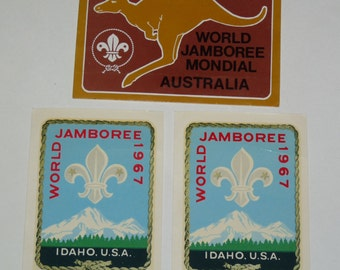Lot of 3 1967 & 1987-8 Scouting World Jamboree stickers decals
