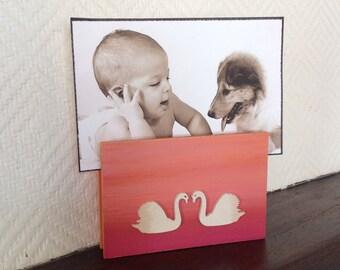 Memo/door-photo, quote, wooden, rectangular, pink, orange, 2 beige swans - gift OBJECTS DECO deco objetsdeco2013 objects