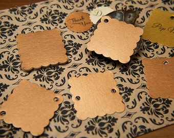 "50 Copper Pearlised 1.5"" Square Luxury Gift Tags, Blank Tags, Wishing Tree, Wedding favour tags, Jewellery Tags, wedding favors 1.5 inch"