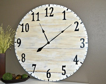 """36"""" Large Oversized Distressed Rustic Wood Wall Clock, cream with black numbers"""