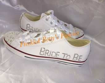 Bride to be, Wedding Crystal trainers/plimsoles