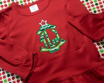 Christmas Tree Applique Initial Shirt