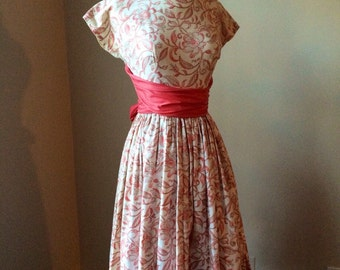 50s cotton dress XS ~ vintage fit and flare garden party dress with sash
