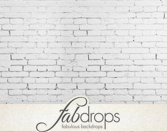 3x4 White Brick Studio Backdrop / Vintage brick Photo Backdrop - Durable Vinyl Photography Background - FabVinyl 3x4ft (FV0901)