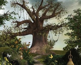 3x3 Enchanted Tree Scenic Photography Backdrop - Fab Vinyl 3x3 ft (FV5097)