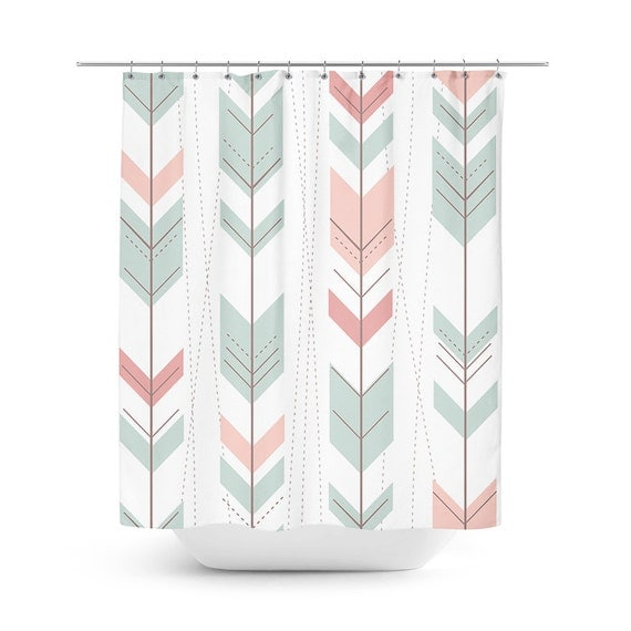 mint green shower curtain pastel pink shower by