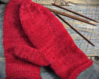 Womens red wool mittens, hand knit mittens, winter mittens, knit mittens, warm wool mittens, knit wool mittens, hand knit mittens, handmade