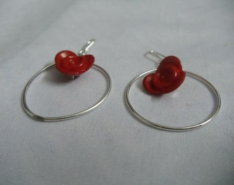 Red lotus hoop earrings