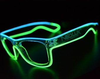 Light up Glasses, Led, Glasses, Dual Color, Festival gear, Glow, Shades, Glow in the dark, Multi Color, EL wire, Rave, party, By NEO LUX