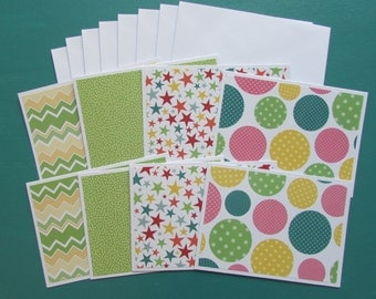 Note cards-set of 8-all occasion assorted cards,hostess/teacher/teen gift,pen pal stationery,green blank note cards,handmade/homemade cards