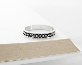 Silver band ring, oxidized silver band ring, Sterling silver ornament ring