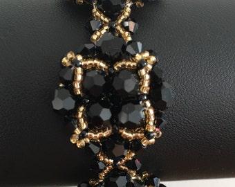 Black and Gold Swarovski Crystal Bracelet