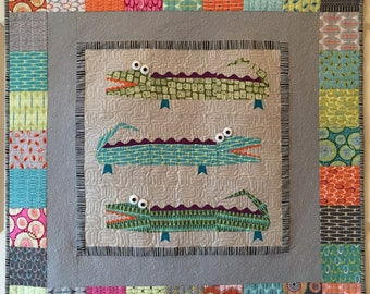 Later Alligator Paper Pieced Quilt and Pillow Pattern