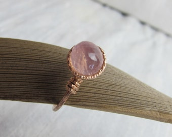 Rose Quartz 14K Rose Gold Filled Handmade Gem Wrapped Ring