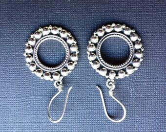 950 Silver Earrings Drop Linear Beaded Circle