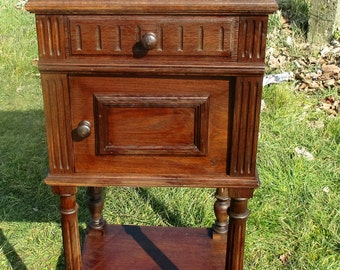 Vintage Carved wood Brown Marble Top End Table Drawer Nightstand Drawer