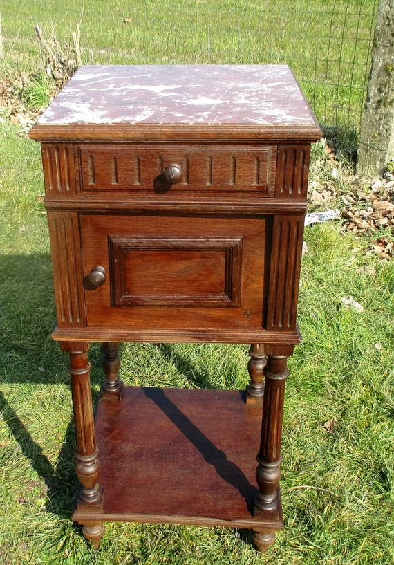 Vintage Carved Wood Brown Marble Top End Table Drawer
