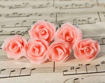 Bridal pink hair pins, set of 6, bridal hair flowers, pink rose hair accessories, rose flower hair clip, rose hair pins, wedding Bridal Hair