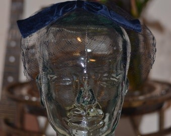 Vintage Estate Navy Blue Birdcage Veil Hat