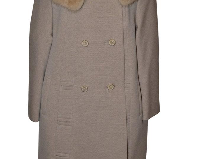 Vintage Estate Morrisons Beige Wool Fur Collar Coat