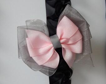 Pink and Grey Hair Bow