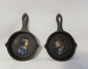 Cast Iron Pans, Miniature, Amish Man and Woman Motif, Vintage, Set of Two