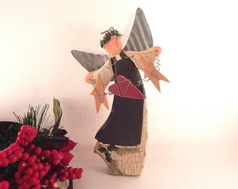 Folk Art Angel Statuette Star and Heart Garland Handpainted Wood and Metal Rustic Christmas Decoration