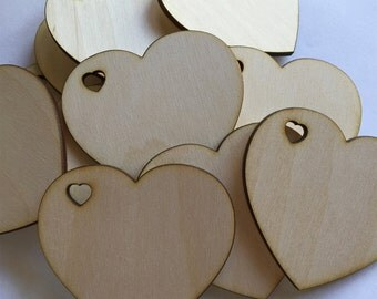 50 -  1/8 inch thick 2 inch wood hearts - unfinished wooden hearts with heart shaped hole for wedding and parties
