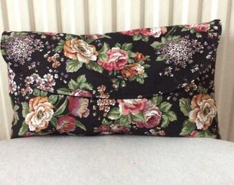 Vintage floral black clutch bag
