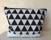 single diaper bag, big pouch, black triangle canvas, baby shower