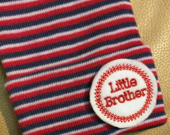 A Best Seller! Newborn Hospital Hat. Now w/ Red White Blue Hat and Red Little Brother Applique.  Every New Baby Boy Should have.
