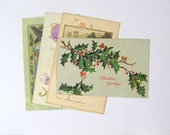 Vintage Christmas postcards: pack of 4 used cards from early 20th century. Collectible or for use in craft, scrapbook, altered art PC117