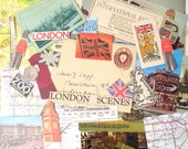 London paper ephemera pack: 35 vintage pieces including postcards, pictures, maps. Craft pack for travel journals, scrapbooks. EP252