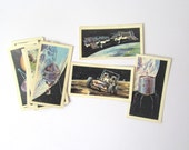 The Race into Space collector cards: pack of 16 vintage 1971 Brooke Bond cards. Collectible ephemera for craft, scrapbook, collage. OT369