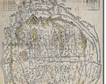 Reproduction of a Vintage Map of Seoul, South Korea - Fantastic Photo Poster Print - Old Archive Cartography