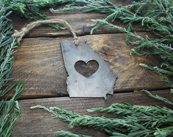 Love Georgia Steel Ornament GA Metal State Heart Christmas Tree Ornament Holiday Gift Industrial Decor Wedding Favor By BE Creations
