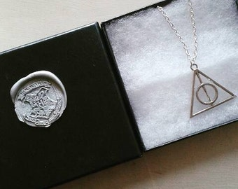 Silver Deathly Hallow Necklace inspired by Harry Potter