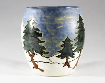 Winter Pines Tumbler part 1 by Taira Wiggins of Sweet Earth Pottery
