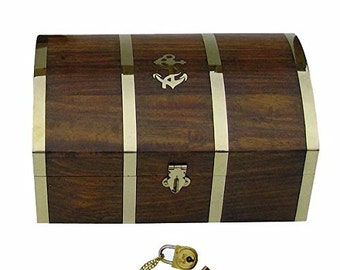 Maritime wooden box / chest / treasure box - Marquetry / brass hinges 22 cm/8.6 inches