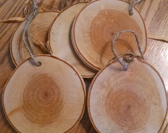 Gift Tags, 10, Extra Large, White Birch Round, Blank, Wood Slices,  Hang Tags, Ornaments